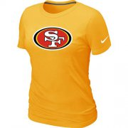 Wholesale Cheap Women's Nike San Francisco 49ers Logo NFL T-Shirt Yellow