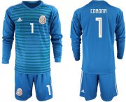 Wholesale Cheap Mexico #1 Corona Blue Long Sleeves Goalkeeper Soccer Country Jersey