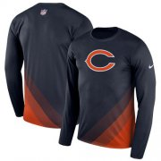 Wholesale Cheap Men's Chicago Bears Nike Navy Sideline Legend Prism Performance Long Sleeve T-Shirt