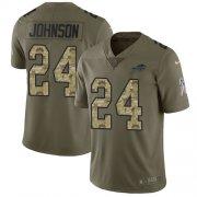 Wholesale Cheap Nike Bills #24 Taron Johnson Olive/Camo Men's Stitched NFL Limited 2017 Salute To Service Jersey