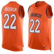 Wholesale Cheap Nike Broncos #22 C.J. Anderson Orange Team Color Men's Stitched NFL Limited Tank Top Jersey