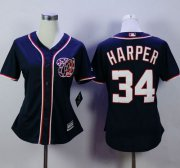 Wholesale Cheap Nationals #34 Bryce Harper Navy Blue Alternate 2 Women's Stitched MLB Jersey