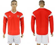 Wholesale Cheap Russia Blank Red Home Long Sleeves Soccer Country Jersey
