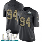 Wholesale Cheap Nike 49ers #94 Solomon Thomas Black Super Bowl LIV 2020 Youth Stitched NFL Limited 2016 Salute to Service Jersey