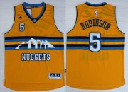 Wholesale Cheap Denver Nuggets #5 Nate Robinson Revolution 30 Swingman 2014 New Yellow Jersey