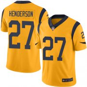 Wholesale Cheap Nike Rams #27 Darrell Henderson Gold Men's Stitched NFL Limited Rush Jersey