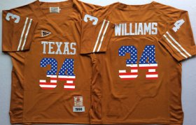 Wholesale Cheap Men\'s Texas Longhorns 34 Ricky Williams Orange USA Flag College Jersey