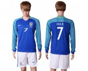 Wholesale Cheap Brazil #7 Hulk Away Long Sleeves Soccer Country Jersey