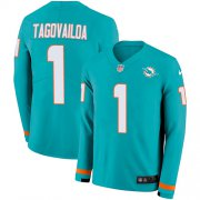 Wholesale Cheap Nike Dolphins #1 Tua Tagovailoa Aqua Green Team Color Youth Stitched NFL Limited Therma Long Sleeve Jersey