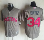 Wholesale Cheap Red Sox #34 David Ortiz Grey New Cool Base Mother's Day Stitched MLB Jersey