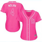 Wholesale Cheap Cardinals #4 Yadier Molina Pink Fashion Women's Stitched MLB Jersey