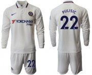 Wholesale Cheap Chelsea #22 Pulisic Away Long Sleeves Soccer Club Jersey