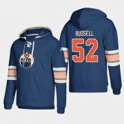Wholesale Cheap Edmonton Oilers #52 Patrick Russell Royal adidas Lace-Up Pullover Hoodie