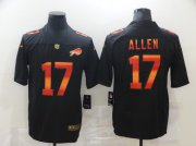 Wholesale Cheap Men's Buffalo Bills #17 Josh Allen Black Red Orange Stripe Vapor Limited Nike NFL Jersey