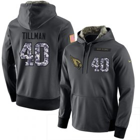 Wholesale Cheap NFL Men\'s Nike Arizona Cardinals #40 Pat Tillman Stitched Black Anthracite Salute to Service Player Performance Hoodie