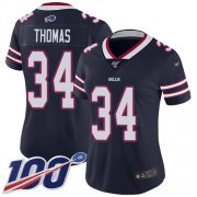 Wholesale Cheap Nike Bills #34 Thurman Thomas Navy Women's Stitched NFL Limited Inverted Legend 100th Season Jersey