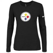 Wholesale Cheap Women's Nike Pittsburgh Steelers Of The City Long Sleeve Tri-Blend NFL T-Shirt Black