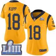 Wholesale Cheap Nike Rams #18 Cooper Kupp Gold Super Bowl LIII Bound Women's Stitched NFL Limited Rush Jersey