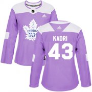 Wholesale Cheap Adidas Maple Leafs #43 Nazem Kadri Purple Authentic Fights Cancer Women's Stitched NHL Jersey