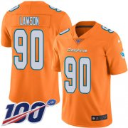Wholesale Cheap Nike Dolphins #90 Shaq Lawson Orange Youth Stitched NFL Limited Rush 100th Season Jersey