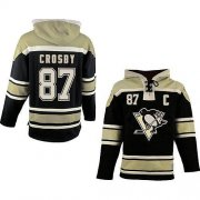 Wholesale Cheap Penguins #87 Sidney Crosby Black Sawyer Hooded Sweatshirt Stitched NHL Jersey