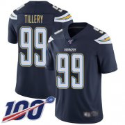 Wholesale Cheap Nike Chargers #99 Jerry Tillery Navy Blue Team Color Men's Stitched NFL 100th Season Vapor Limited Jersey