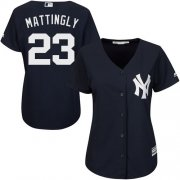 Wholesale Cheap Yankees #23 Don Mattingly Navy Blue Alternate Women's Stitched MLB Jersey