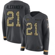 Wholesale Cheap Nike Bengals #21 Mackensie Alexander Anthracite Salute to Service Women's Stitched NFL Limited Therma Long Sleeve Jersey