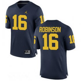 Wholesale Cheap Men\'s Michigan Wolverines #16 Denard Robinson Retired Navy Blue Stitched College Football Brand Jordan NCAA Jersey