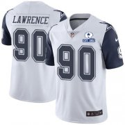 Wholesale Cheap Nike Cowboys #90 DeMarcus Lawrence White Men's Stitched With Established In 1960 Patch NFL Limited Rush Jersey