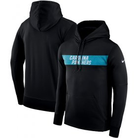 Wholesale Cheap Men\'s Carolina Panthers Nike Black Sideline Team Performance Pullover Hoodie