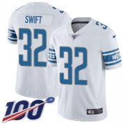 Wholesale Cheap Nike Lions #32 D'Andre Swift White Youth Stitched NFL 100th Season Vapor Untouchable Limited Jersey