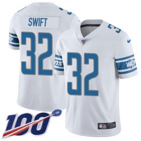 Wholesale Cheap Nike Lions #32 D\'Andre Swift White Youth Stitched NFL 100th Season Vapor Untouchable Limited Jersey