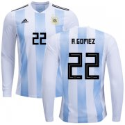 Wholesale Cheap Argentina #22 R.Gomez Home Long Sleeves Kid Soccer Country Jersey