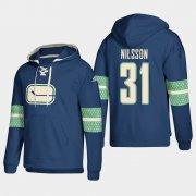 Wholesale Cheap Vancouver Canucks #31 Anders Nilsson Blue adidas Lace-Up Pullover Hoodie