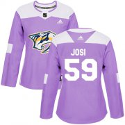 Wholesale Cheap Adidas Predators #59 Roman Josi Purple Authentic Fights Cancer Women's Stitched NHL Jersey