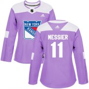 Wholesale Cheap Adidas Rangers #11 Mark Messier Purple Authentic Fights Cancer Women's Stitched NHL Jersey