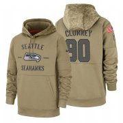 Wholesale Cheap Seattle Seahawks #90 Jadeveon Clowney Nike Tan 2019 Salute To Service Name & Number Sideline Therma Pullover Hoodie