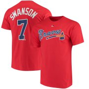 Wholesale Cheap Atlanta Braves #7 Dansby Swanson Majestic Official Name & Number T-Shirt Scarlet