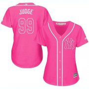 Wholesale Cheap Yankees #99 Aaron Judge Pink Fashion Women's Stitched MLB Jersey