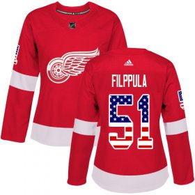 Wholesale Cheap Adidas Red Wings #51 Valtteri Filppula Red Home Authentic USA Flag Women\'s Stitched NHL Jersey