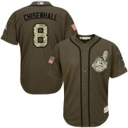 Wholesale Cheap Indians #8 Lonnie Chisenhall Green Salute to Service Stitched MLB Jersey