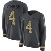 Wholesale Cheap Nike Rams #4 Greg Zuerlein Anthracite Salute to Service Women's Stitched NFL Limited Therma Long Sleeve Jersey