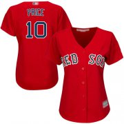 Wholesale Cheap Red Sox #10 David Price Red Alternate Women's Stitched MLB Jersey