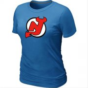 Wholesale Cheap Women's NHL New Jersey Devils Big & Tall Logo T-Shirt Light Blue