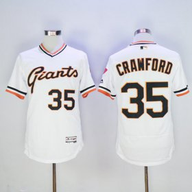 Wholesale Giants #35 Brandon Crawford White Flexbase Authentic Collection Cooperstown Stitched Baseball Jersey