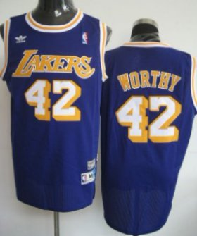 Wholesale Cheap Los Angeles Lakers #42 James Worthy Purple Swingman Throwback Jersey