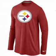 Wholesale Cheap Nike Pittsburgh Steelers Logo Long Sleeve T-Shirt Red