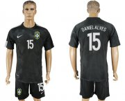 Wholesale Cheap Brazil #15 Daniel Alves Black Soccer Country Jersey