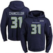 Wholesale Cheap Nike Seahawks #31 Kam Chancellor Navy Blue Name & Number Pullover NFL Hoodie